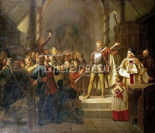 Adolph Tidemand: Florian Geyer spricht vor einer bäuerlichen Versammlung. 1841