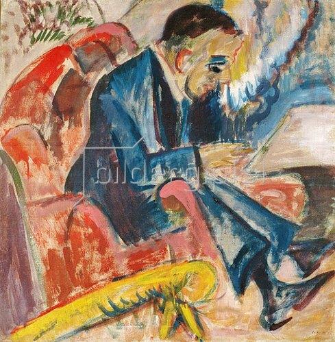 Ernst Ludwig Kirchner: Sitzender Mann auf Parkbank. 1917.