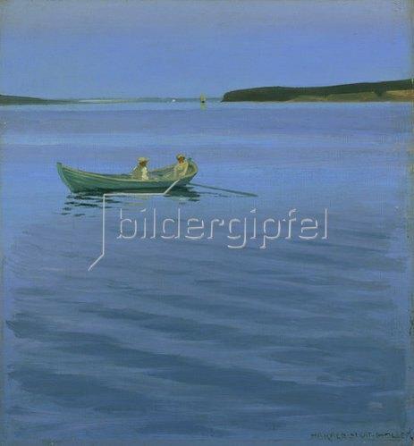 Harald Slott-Möller: Bootsfahrt auf dem idyllischen See.