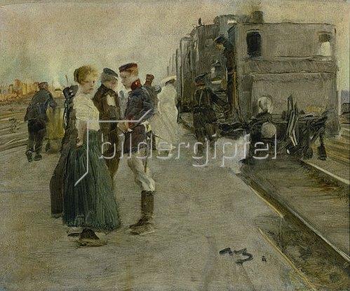 Wilhelm Schreuer: Abschied auf dem Bahnsteig.