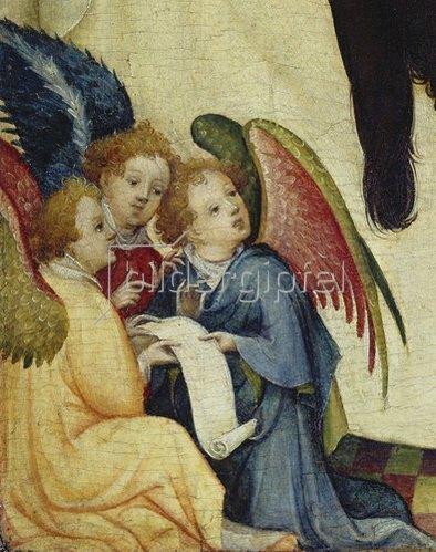 """Meister der hl.Veronika: Detail aus """"Die hl.Veronika mit dem Schweisstuch Christi"""": Drei Engel."""