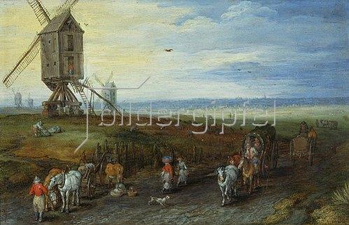 Jan Brueghel d.Ä.: Windmühlen auf weiter Ebene. 1611.