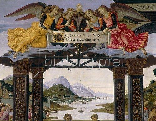 Domenico (T.Bigordi) Ghirlandaio: Flusslandschaft und anbetende Engel; Detail aus Anbetung der Könige