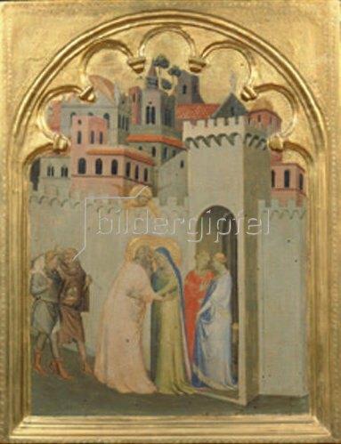Bernardo Daddi: Die Begegnung an der Goldenen Pforte. Tafel des Polyptichons aus S. Pancrazio