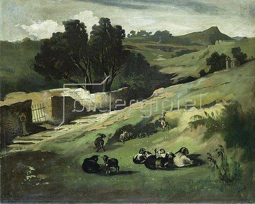 Anselm Feuerbach: Landschaft mit Ziegen. 1873.