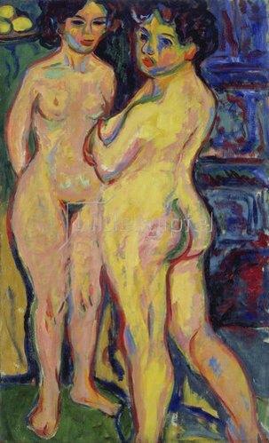 Ernst Ludwig Kirchner: Stehende nackte Mädchen am Ofen. 1908.