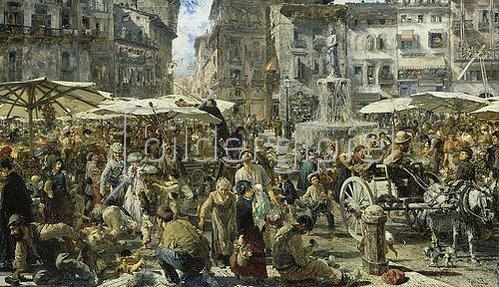 Adolph von Menzel: Piazza d'Erbe zu Verona. 1894.