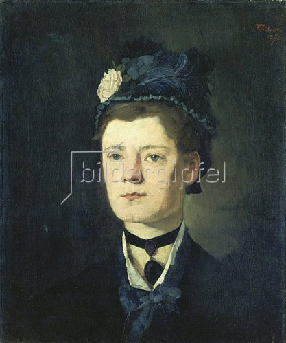 Wilhelm Trübner: Dame mit blauem Hut. 1876