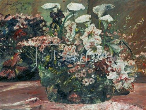 Lovis Corinth: Blumenkorb mit Amaryllis und Kalla. 1918.