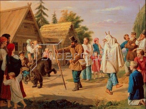 François Nicolas Riss: Schausteller mit Tanzbär in einem Dorf. 1857