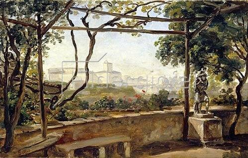 Johann Georg von Dillis: Blick auf den Quirinal vom Garten der Villa Malta. 1818.