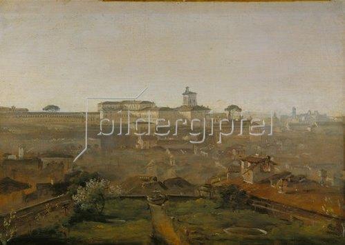 Johann Georg von Dillis: Blick von der Villa Malta auf den Quirinal, Rom. 1818