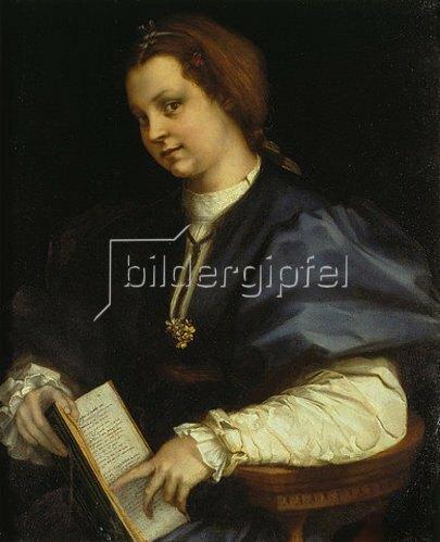 Andrea del (Andrea d'Agnolo) Sarto: Bildnis einer jungen Frau mit Buch. Um 1514