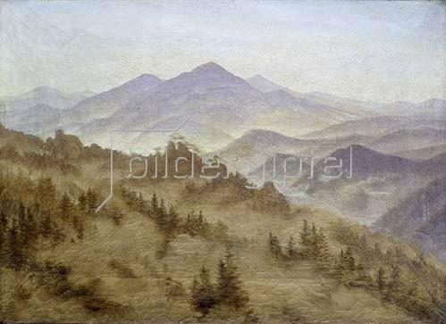 Caspar David Friedrich: Landschaft mit dem Rosenberg in der böhmischen Schweiz.
