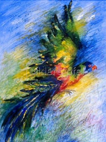 Annette Bartusch-Goger: Fliegender Papagei (Allfarb-Lori). 1999