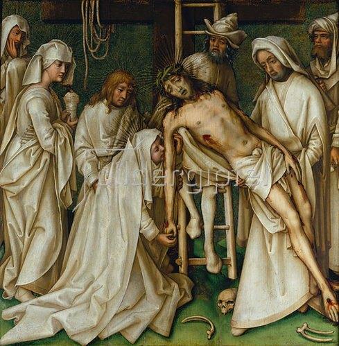 Hans Holbein d.Ä.: Sogenannte Graue Passion: Die Kreuzabnahme Christi. Um 1495