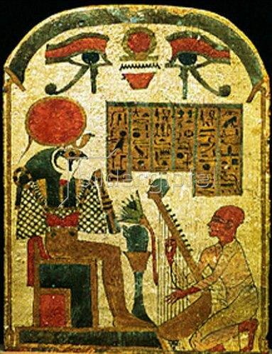 Ägyptisch: Der falkenköpfige Gott Horus mit Harfe spielenden Beter. 19. Dynastie Ramessiden