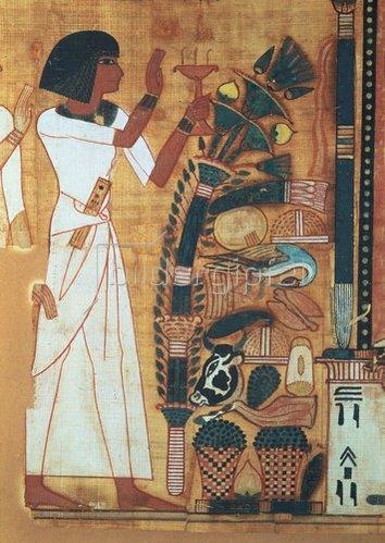 Ägyptisch: Aus dem Buch des Todes von Neb Qued: Opfergaben bringende Frau vor Opfer-Altar.