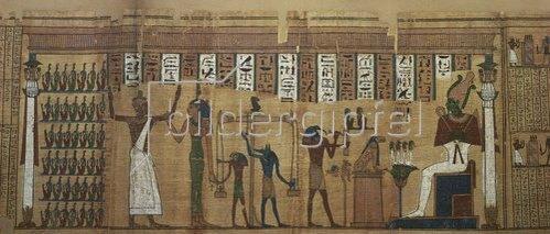 Ägyptisch: Aus dem Buch des Todes. Begräbnis-Papyrus: Horus u. Anubis beim Wiegen d. Seele