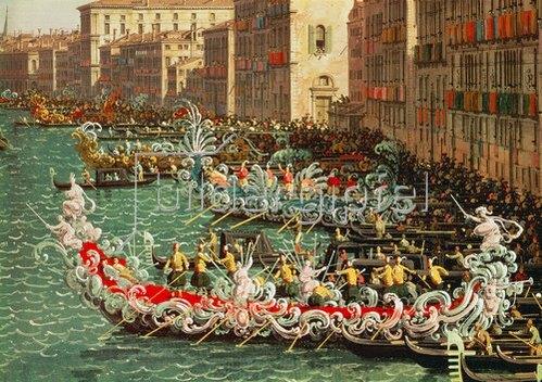 Canaletto (Giov.Antonio Canal): Regatta auf dem Canale Grande vor dem Palazzo Foscari (Detail)