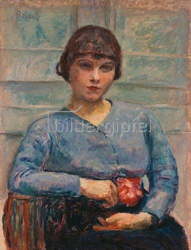 Pierre Bonnard: Junge Frau in blau mit einer Rose (Jeune Fille en bleu, à la Rose.) Um 1916