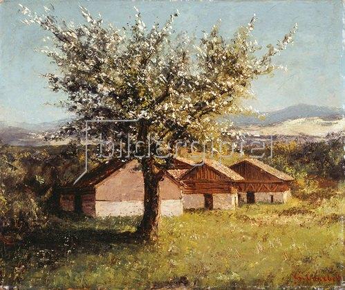 Gustave Courbet: Schweizer Landschaft m. blühe. Apfelbäumen. Zusammen m. Cherubino Pata. Um 1876