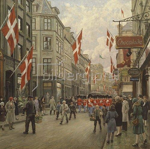 Paul Fischer: Parade der dänischen Lebensrettungs-Garde durch die Ostergarde in Kopenhagen