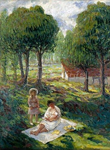 Henri Lebasque: Mutter mit Kindern in einer Landschaft   um 1900