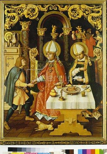 Hans Holbein d.Ä.: Katharinenaltar. Fischwunder des hl. Ulrich und der hl. Konrad.
