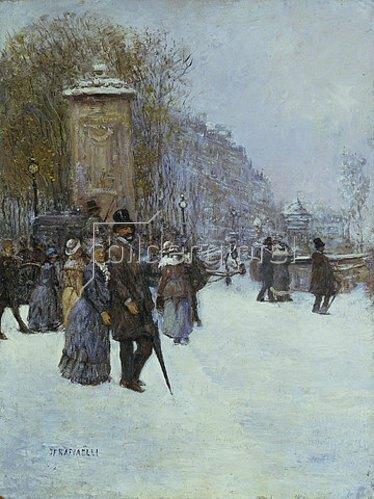Jean François Raffaelli: Straßenszene im winterlichen Paris.