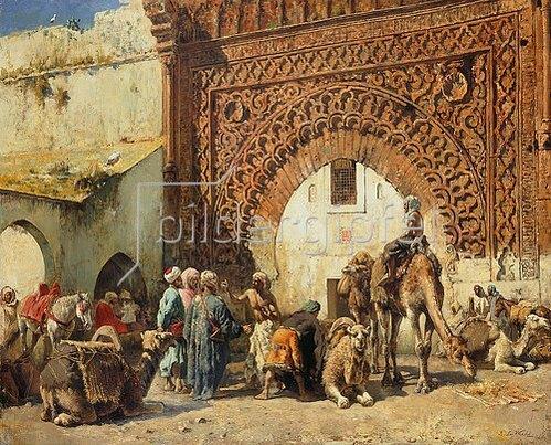 Edwin Lord Weeks: Karawane aus dem Sudan vor einem marokkanischen Stadttor.