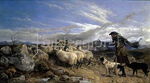 Richard Ansdell: Schäfer mit Herde im Hochmoor   1866