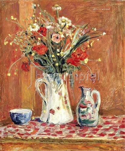 Pierre Bonnard: Blumenstrauß und Keramik-Gefäße   1913