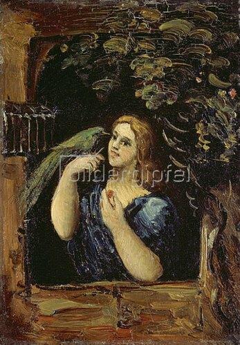 Paul Cézanne: Dame mit Papagei   1862/1864