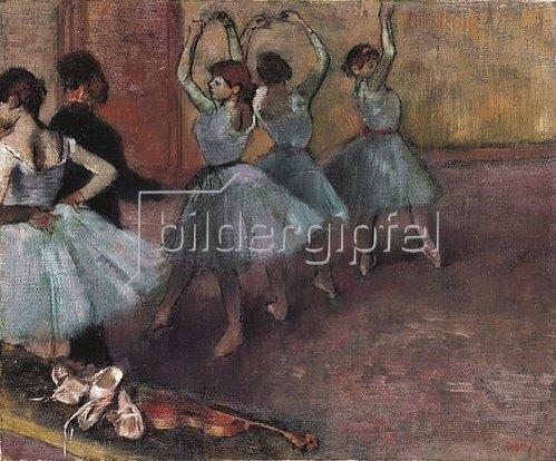 Edgar Degas: Blaue Tänzerinnen auf der Probenbühne. Um 1882