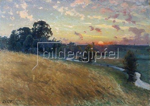 David Ericson: Weite Landschaft mit Feld und Fluss bei Sonnenuntergang   1902