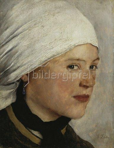 Wilhelm Leibl: Mädchen mit weißem Kopftuch. 1875/77