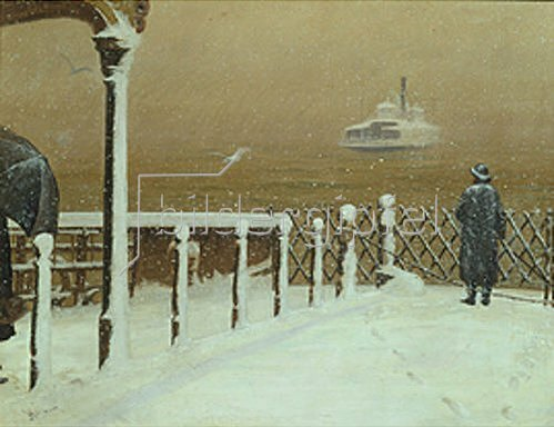 Henrik Hillbom: Fähre auf dem Hudson River im Winter   1896
