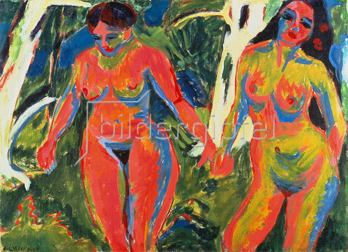 Ernst Ludwig Kirchner: Zwei nackte Frauen im Wald. 1909