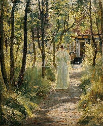 Peter Severin Kroyer: Marie, die Frau des Künstlers, auf einem Gartenweg. 1895