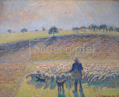 Camille Pissarro: Schafhirte mit Herde (Berger avec Moutons). 1888