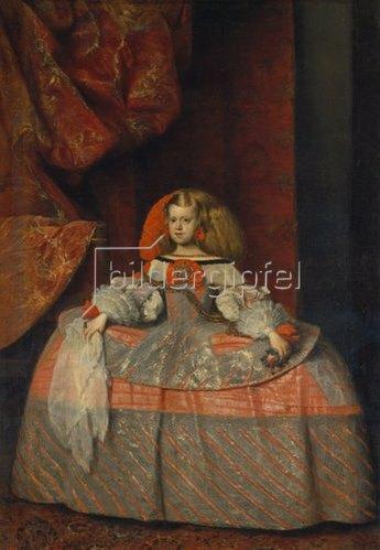 Diego Rodriguez de Velazquez: Die Infantin Margarita Theresa  in blaurotem Reifrock mit Spitzentüchlein. Gegen 1660