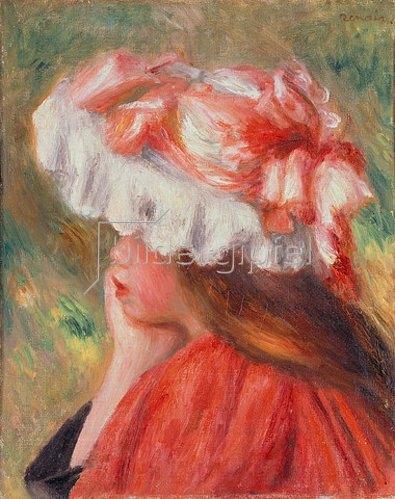 Auguste Renoir: Junge Frau mit rotem Hut. 1890