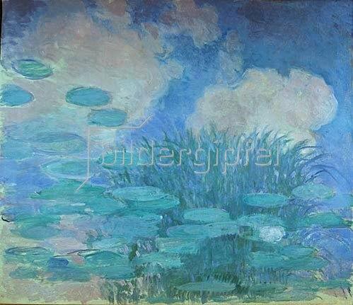 Claude Monet: Seerosen (Harmonie in blau)     Anfang 20. Jahrhundert