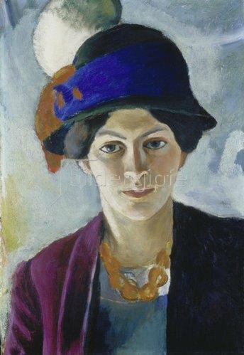 August Macke: Frau des Künstlers mit Hut. 1909