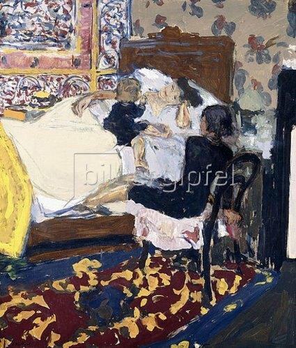 Edouard Vuillard: Mutter im Bett mit ihren Kindern (Les enfants). 1909