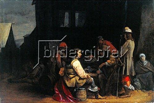 Gerard ter Borch: Kartenspielende Soldaten vor einer Ruine. 1640-45