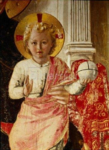 Fra Angelico: Der Jesusknabe mit der Weltkugel. Detail aus Hl.Jungfrau, von acht Heiligen u