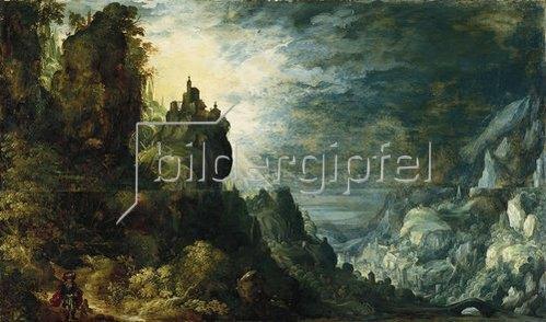 Kerstiaen de Keuninck: Gebirgslandschaft mit der Opferung Isaaks. Um 1590
