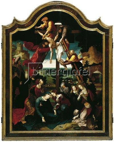 Antwerpener Meister: Kreuzabnahme mit Stifterfamilie (Mitteltafel). Um 1520